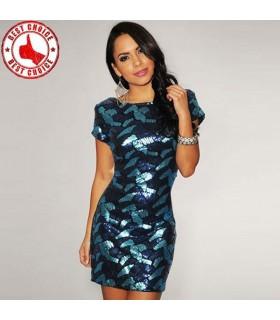 Spéciale robe de paillettes bleu foncé