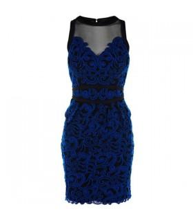Bleu électrique dentelle robe spéciale