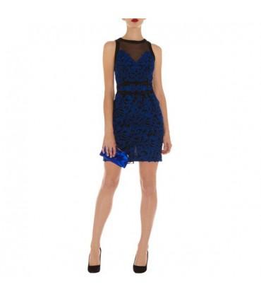 4973098f6a7 Bleu électrique dentelle robe spéciale Size 38