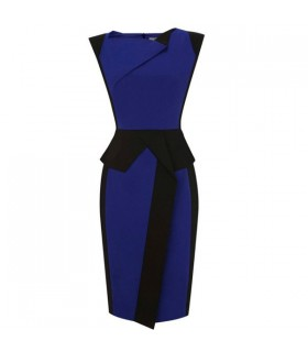 Schwarz blaues Etuikleid