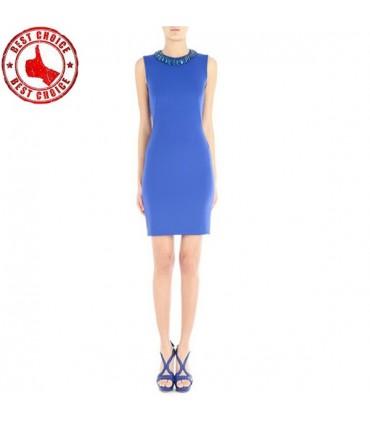 Satin Stretch Robe Bleu Electrique Size 42