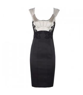 Schwarz silbernes seidenbesticktes Kleid