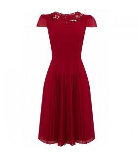 Robe plissée en mousseline de soie rouge