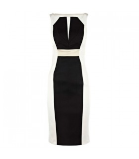 Bianco e nero abito raso stretch