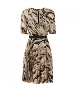 Feather print pleated dress