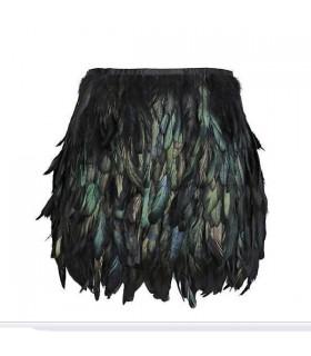 Mini jupe de plumes naturelles noires