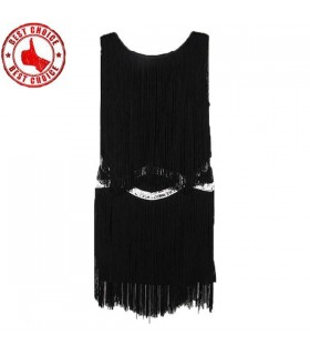 Black tassels embellished dress
