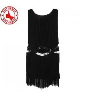 Schwarz Quasten verziert Kleid