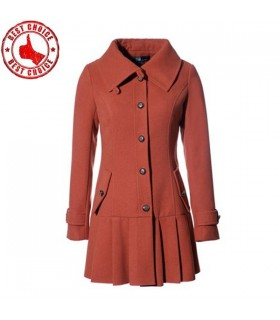 Brickcolor pleated lap coat