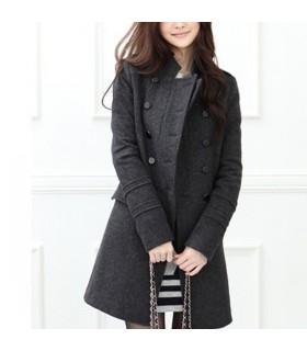 Wollen grauen langen Mantel