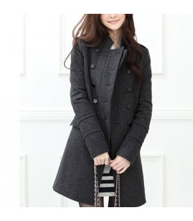 Woolen grey long coat