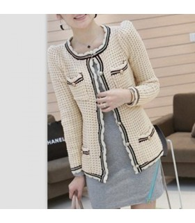 Fashion vintage apricot knitted blazer