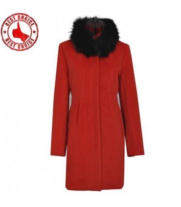 6f8a2b974acb Cappotto rosso elegante collare volpe capelli Color Red Size XL
