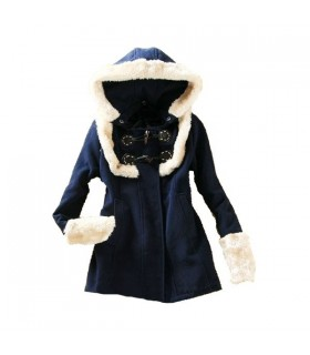 Dark blue sweet style coat