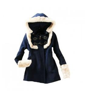 Dunkelblau süßen Stil Mantel