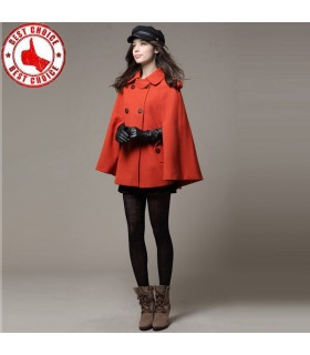 Fashion style red cloak coat