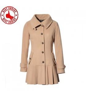 Cammello plissettato cappotto giro