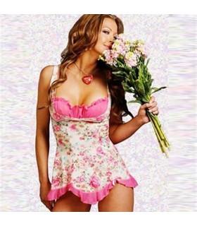 Lingerie babydoll rose romantique