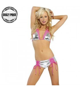 Silver and pink fancy full coverage bottom swimsuit