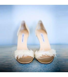 Chaussures fantastiques plume blanche