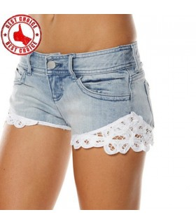 Lace open cut short jeans