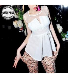 Sexy top bianco organza