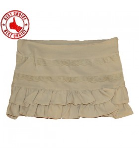 Cream ruffled mini pants-skirt