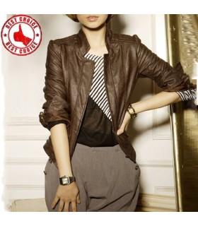 Taper en cuir brun court veste de mode