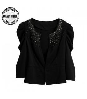 Noir veste de mode embelli