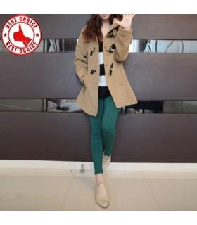Manteau à capuchon de style décontracté sergé