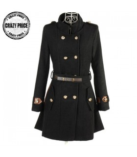 Black stand collar coat with belt