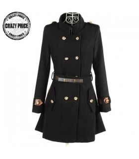 Schwarz Stehkragen Mantel mit Gürtel