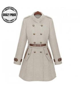 Ivory stand collar coat with belt