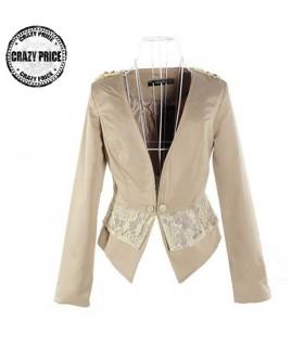 Lace embellished beige blazer