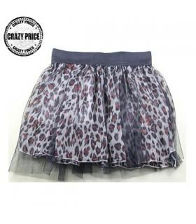 Mini jupe en tulle d' impression léopard