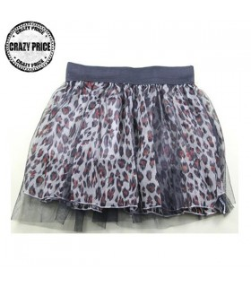 Tulle leopard print mini skirt