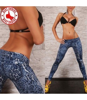 Leopad Drucken Blue Stretch Leggings