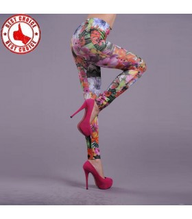 Exotic flower print stretchy leggings