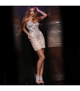 Gemma impreziosita moderna breve sexy abito da sposa