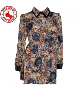 Retro pattern shirt dress