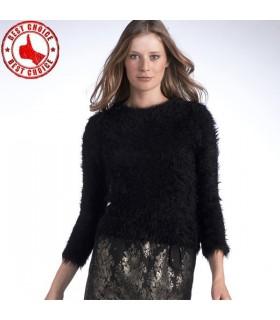 Schwarz flauschigen Pullover
