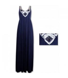 Bleu foncé paillette robe longue