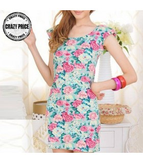 Jersey flower print elastic dress