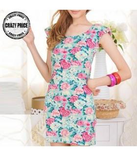 Jersey flower print elastic dress