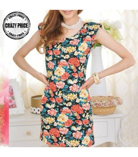 Jersey flower print elastic black dress