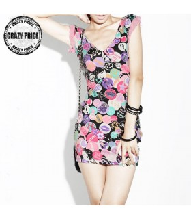 Fashion print jersey mini dress