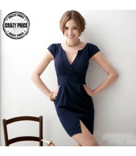Dark blue V-neck casual dress