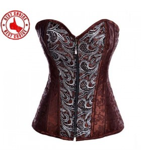 Brown brocade corset