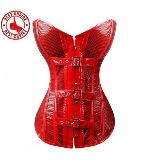 Red covered mesh corset