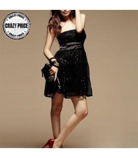 Pailletten verziert schwarzen Kleid